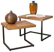 blaine wood finish nesting tables set of 2