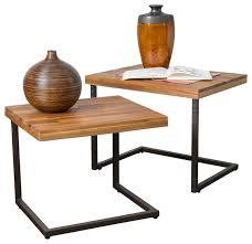 blaine wood finish nesting tables set of 2