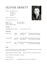 Resume Examples For Actors Resume Template Acting Resume Template