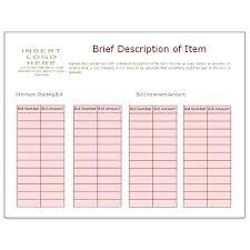 Sample Bid Sheets For Silent Auction Bid Sheet Template Using Bidder Numbers Silent Auction Letter