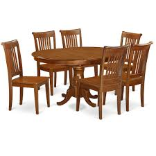 7 Pc Dining Room Set For 6 Oval Dining Table With Leaf And 6 Dining
