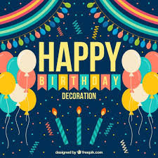 Happy Birthday Decoration In Flat Design Vector Free Download