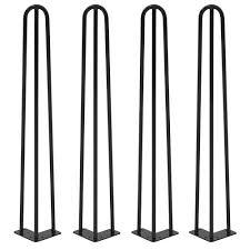 heavy duty 3 rod black powder coat hairpin legs industrial style mid century