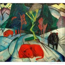 franz marc artwork reion bison in winter red bison oil painting canvas high quality handmade wall decor oil painting handmade living room decor