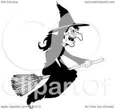 Small Picture Cartoon Clipart Of A Black And White Wicked Witch Flying on a