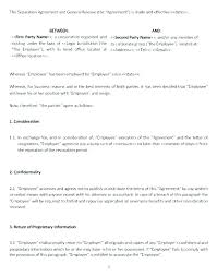 Sample Employment Separation Agreements Awesome Release Agreement Template Tacca