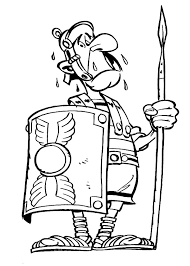 A Figure Of Roman Soldier In Comic Coloring Page Netart