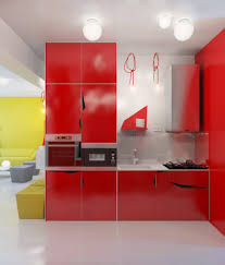 Red Kitchen Design Modern Red And White Kitchen Design With Ceramic Floor And Ceiling