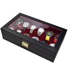 Ikee Design Watch Box Ikee Design Black Leatherette Watch Case For Twelve Watches