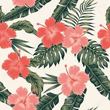 Flower Pattern Wallpaper Adorable Flowers Hibiscus Abstract Color Tropical Leaves Seamless Vector