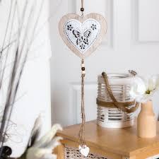 Dekohänger Herz Holz Metallherz Anhänger Blechschild