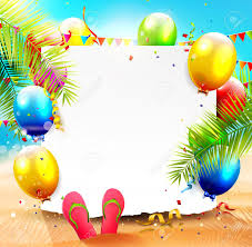 Summer Beach Party Background With Empty Paper And Colorful Balloons