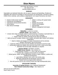 Resume For Babysitting Examples