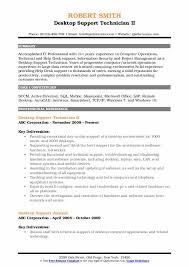 Support Technician Resume Desktop Support Technician Resume Resume Sample