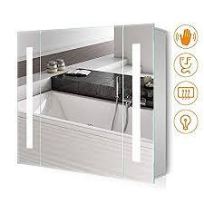 quavikey 650 x 600mm led illuminated bathroom mirror cabinet aluminum bathroom mirror with shaver socket demister