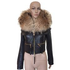 dsquared2 coats outerwear coats outerwear leather fur brown black ref 86574 joli closet