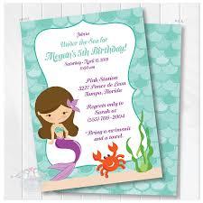 Mermaid Birthday Invitation Birthday Invitation Under The Sea Mermaid Party Invite Printable Digital File
