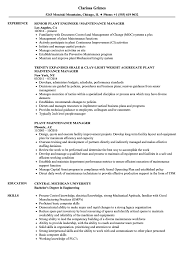 Plant Maintenance Manager Resume Samples Velvet Jobs
