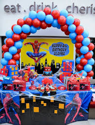 Cake Table Spiderman Theme Birthday In 2019 Spiderman Birthday