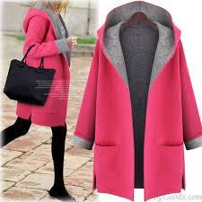 Women's Hooded Loose Woolen Cardigan Jacket <b>Large Size Long</b> ...
