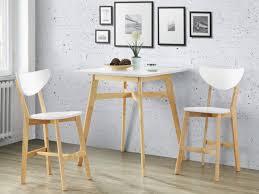Ensemble table haute + 2 tabourets CARINE - Hévéa - Blanc