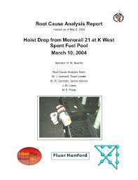 Root Cause Analysis Adorable Doe Hanford Hoist Drop From Monorail