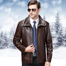 2018 new middle age men autumn winter keep warm leather jacket fashion hair lead leisure time