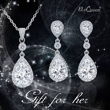 details about elequeen 925 sterling silver full cubic zirconia teardrop bridal pendant