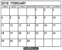 February 2018 Calendar Pdf Http Socialebuzz