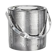 Vintage Stainless Steel Ice Bucket with Tongs
