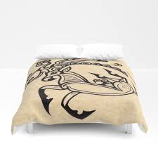 scythian deer tattoo ink drawing inspired by the ice princess by sheridon rayment duvet cover
