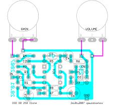 gaussmarkov diy fx overdrive 250 schematic image · parts list · layout image