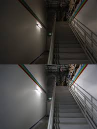 staircase lighting fixtures. 50W Low Bay LED Light Fixture - Industrial 4\u0027 Long: Shown Installed By Warehouse Steps And Compared To Florescent Fixture. Staircase Lighting Fixtures