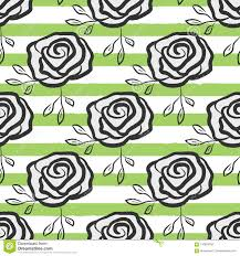 Flowers Roses Drawn By Hand On Striped Background Trendy Floral