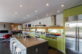 modern kitchen island design. Cool Ceiling Kitchen Lighting Over Long Square Island With Seating Green Cabinetry Set As Decor Modern Tips Design