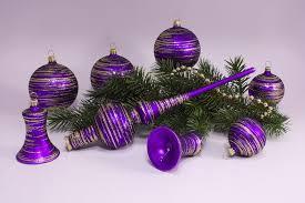 21 Teiliges Set Violett Matt Gold Geringelt Lauschaer Weihnachtskugeln Aus Glas