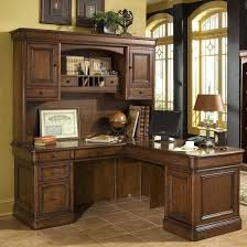 wood l shaped office desk with hutch