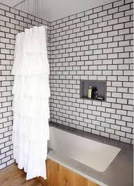 Image Beveled Subway Bold Tile Grout White Subway Tile Bathroom With Dark Grout And And Pine Floor Atticmag Bold Tile Grout