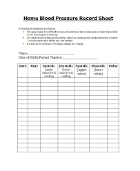 Blood Pressure Tracking Sheet 30 Printable Blood Pressure Log Templates Template Lab