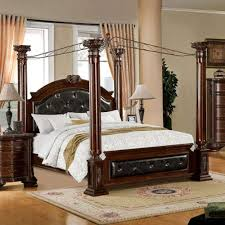 24/7 Shop at Home 247SHOPATHOME IDF-7271Q Four Poster Bed, Queen, Cherry