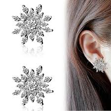 Full Rhinestone <b>Snowflake Stud</b> Earrings Gold Color Silver Lucky ...