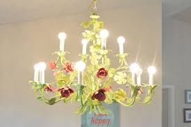 recycled painted chandelier