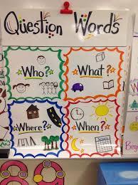 anchor charts for kindergarten kindergarten question words anchor chart reading anchor charts