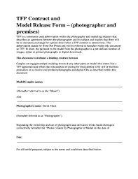 Fillable Online Petsandmorephotography Co Tfp Contract And Model ...