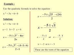 example use the quadratic formula to solve the equation x 2 5x