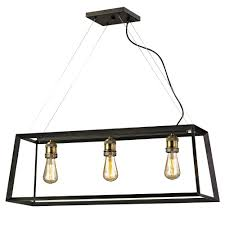 fifth and main lighting austin 3 light black frame island pendant with antique brass sockets