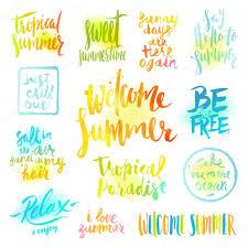 Vektor Set Von Handgezeichneten Kalligraphie Sommerferien Und