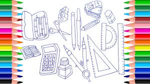 How to draw school supplies for kids | Coloring pages learning ...