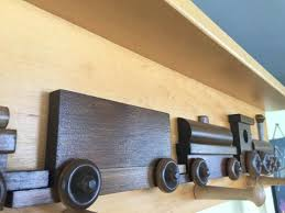 Train Coat Rack RAILROAD TRAIN COAT HOOK RACK Handmade Wooden Wall Peg with Storage 73