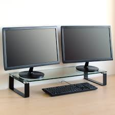 sentinel large double monitor riser stand pc imac screen tv display shelf clear black